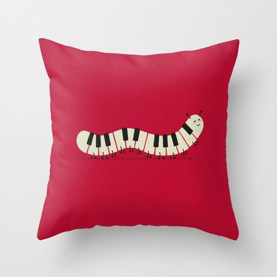 Caterpiano Throw Pillow