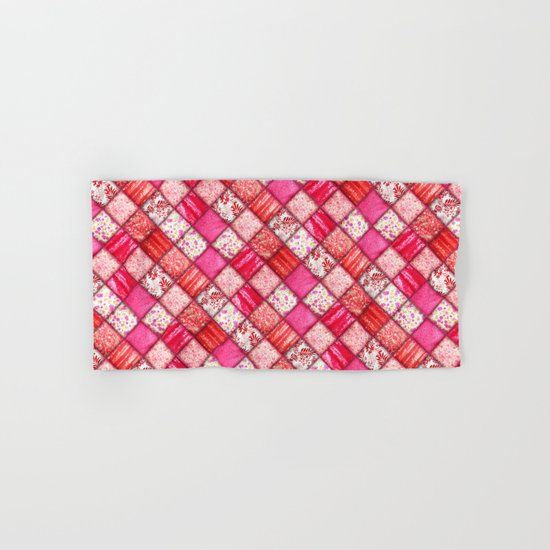Faux Patchwork Quilting - Pink and Red Hand & Bath Towel