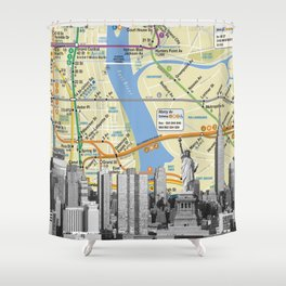Nyc Subway Liberty Statue Shower Curtain