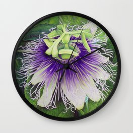 Passion Fruit Blossom Wall Clock