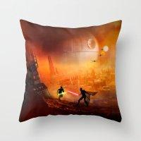 Throw Pillows featuring STAR . WARS by Joe Roberts