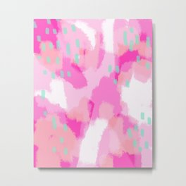 amelia - Pink Abstract Digital Painting Metal Print