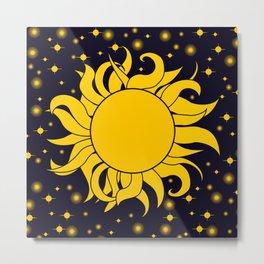 Bold Yellow Sun & Stars On Dark Blue Metal Print