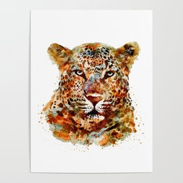 Leopard Head watercolor Poster