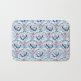 Art Deco Fresco in Cool Mediterranean Blue and Red Bath Mat