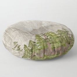 Mountain Range Woodland Forest Floor Pillow
