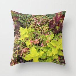 Foliage Fiesta With A Touch Of Begonia Throw Pillow