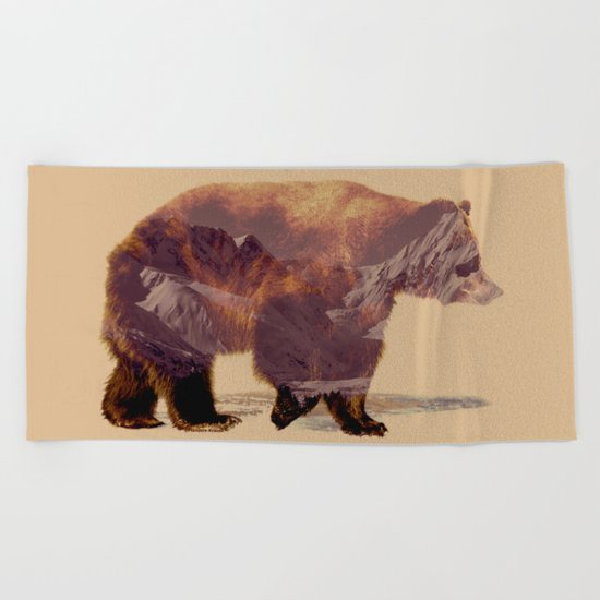 Glacier Grizzly Beach Towel