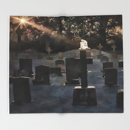 Gravestones and statue Throw Blanket