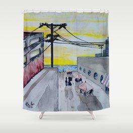 Seaside Cafe Shower Curtain
