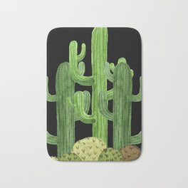 Desert Vacay Three Cacti on Black Bath Mat
