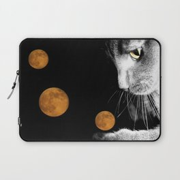 Silver Cat and Moon Laptop Sleeve