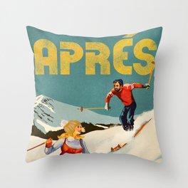 Apres Vintage Ski Pinup Throw Pillow