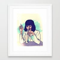 mia wallace Framed Art Prints featuring Mia Wallace by ARTBYSKINGS