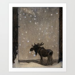 John Bauer - the elk Art Print