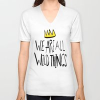 wild things V-neck T-shirts featuring Wild Things II by Leah Flores