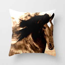 Horse print horse photography equestrian art sepia Poster Throw Pillow