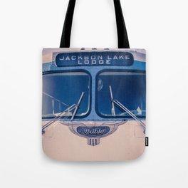 Jackson Lake Lodge Vintage Bus Print Tote Bag