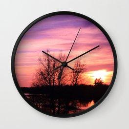 Pink Sky at Dusk Wall Clock