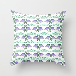 Purple tulip wallpaper pattern Throw Pillow