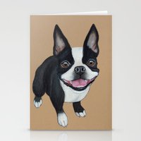 boston terrier Stationery Cards featuring Boston Terrier by PaperTigress