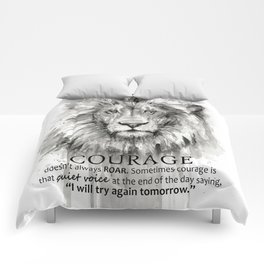 Lion Courage Motivational Quote Watercolor Painting Comforters