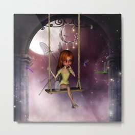 Little fairy on a swing with dragonfly in the night Metal Print