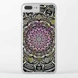 DETAILED CHARCOAL MANDALA (BLACK AND WHITE) WITH COLOR (PINK YELLOW TEAL) Clear iPhone Case