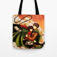 shingeki no kyojin Tote Bags featuring Shingeki no Kyojin ~Eren & Mikasa~ by eriboook