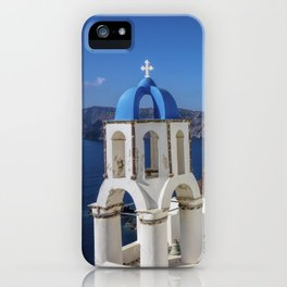 Santorini, Oia Village, Blue and White Church iPhone Case