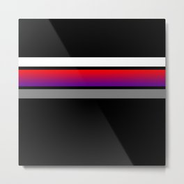 Team colors...red/purple ,gray and white stripe on black Metal Print