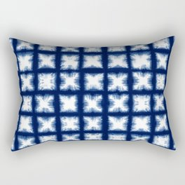Indigo Shibori Granny Squares Rectangular Pillow