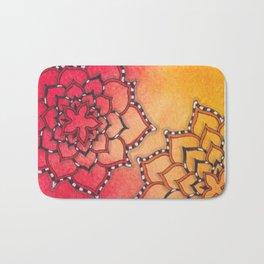 Zentangle Inspired Art Flower Design Bath Mat