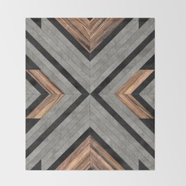 Urban Tribal Pattern No.2 - Concrete and Wood Throw Blanket