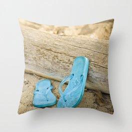 sandals against driftwood Throw Pillow