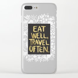 Eat Well, Travel Often (on Kraft) Clear iPhone Case