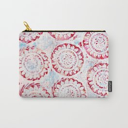 Red with White Flowers Carry-All Pouch