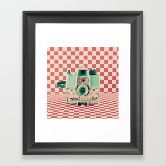 Mint Retro Camera on Red Chequered Background  Framed Art Print