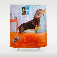 dachshund Shower Curtains featuring Dachshund by Caballos of Colour