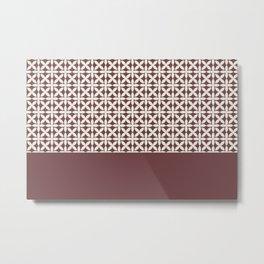 Pantone Cannoli Cream Square Petal Pattern on Pantone Red Pear Metal Print
