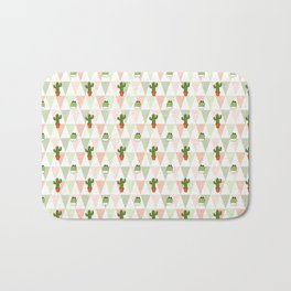 Hand painted pink coral green geometrical cactus Bath Mat