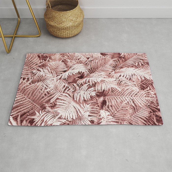 Fern Bush Blush Pink | Bedroom Art Rug by wildhood