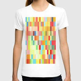 colorful rectangle grid T-shirt