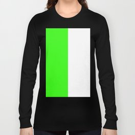 White and Neon Green Vertical Halves Long Sleeve T-shirt
