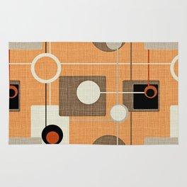 orbs and squares orange Rug