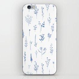 Wildflowers in blue iPhone Skin