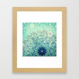 Mandala in Sea Green and Blue Framed Art Print
