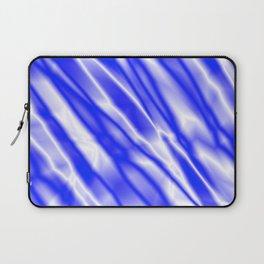 Light metal crooked mirror with blue white diagonal stripes. Laptop Sleeve