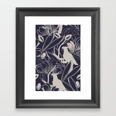 Cockatoo Evening Blue Framed Art Print