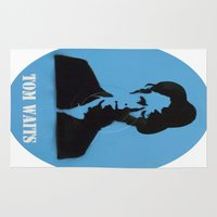 tom waits Area & Throw Rugs featuring Tom Waits Record Painting by All Surfaces Design